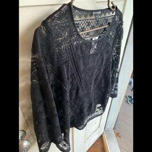 Express 3 quarter length sleeves lace black sz med
